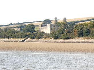 Heanton Punchardon - Heanton Court, former manor house of Heanton Punchardon, viewed from south at Penhill Point across the estuary of the River Taw at low tide
