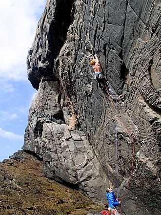Climbers using double rope technique Hebrides climbing - The Raven.jpg