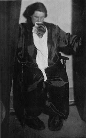 Helen Duncan - Duncan with fake ectoplasm made of cheesecloth and a cut out face from a magazine.