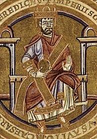 Iluminace muže sedícího na trůnu sšerpou a vruce držící jablko