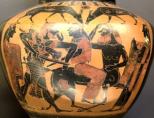Heracles, Deianira and Nessus. Attic black-fig...