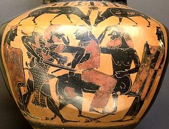 Deianira - Heracles, Deianira and Nessus, black-figure hydria, 575-550 BC, Louvre (E 803)