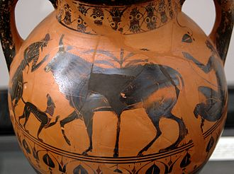 Io (mythology) - Hermes, Io (as cow) and Argus, black-figure amphora, 540–530 BC, Staatliche Antikensammlungen (Inv. 585)