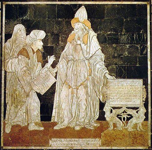 Гермес Меркурий Трисмегист, современник Моисея. Мозаика на полу кафедрального собора Сиены, 1480-е годы