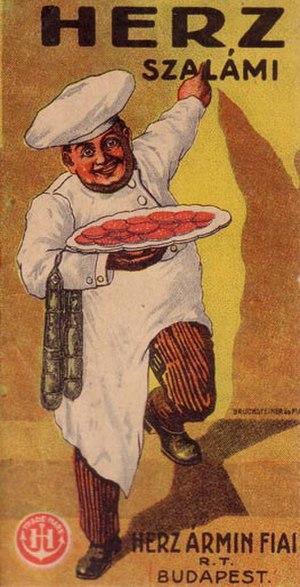 Salami - Hungarian Herz Salami poster, an advertisement from Budapest, 1900