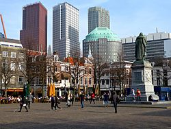 The Hague high-rises seen from the Plein, with statue of William the Silent
