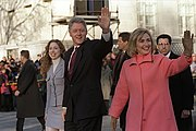 The Clinton family takes an Inauguration Day walk down Pennsylvania Avenue to start Bill Clinton's second term in office. January 20, 1997.