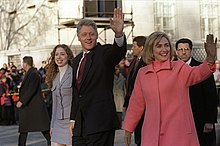 Chelsea, Bill, and Hillary Clinton take an inauguration day walk down Pennsylvania Avenue in Washington, D.C., on January 20, 1997, when Bill started a second term as president.