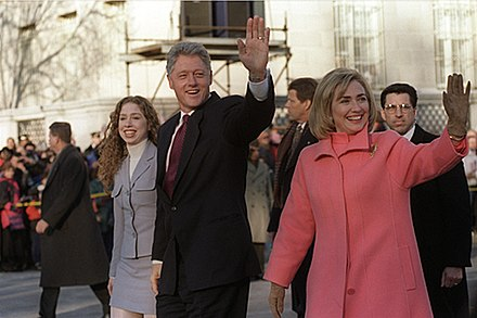 The Clintons take an Inauguration Day walk down Pennsylvania Avenue to start Bill's second term as president, January 20, 1997 Hillary Clinton Bill Chelsea on parade.jpg