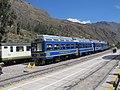 Hiram Bingham train by Perurail to Machu Picchu and Sacred Valley Peru - Ollantaytambo train station (4876177570).jpg