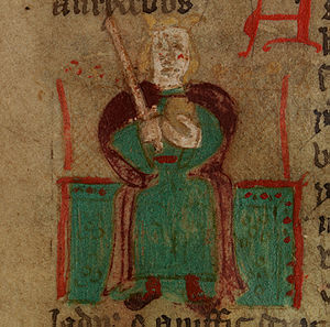 Uther Pendragon - Uther Pendragon in a crude illustration from a 15th-century Welsh language version of Historia Regum Britanniae
