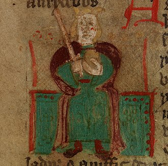 Uther Pendragon - Uther Pendragon in a crude illustration from a 15th-century Welsh version of Historia Regum Britanniae