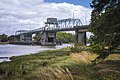 Hoquiam, WA — Simpson Avenue Bridge, view of upstream elevation from west bank of Hoquiam River (July 2016).jpg