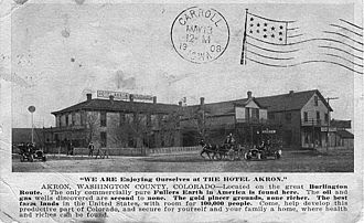 Akron, Colorado - Hotel Akron, from a postcard sent in 1908