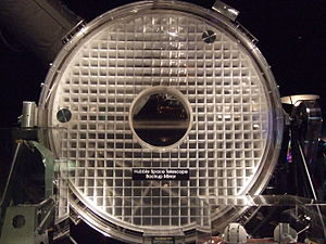 Hubble Space Telescope - The backup mirror, by Kodak; its inner support structure can be seen because it is not coated with a reflective surface