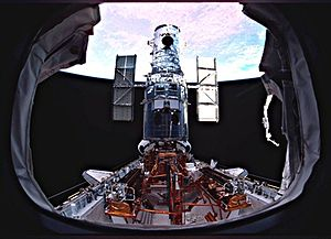STS-109 -  Hubble on the payload bay just prior to being released by the STS-109 crew.