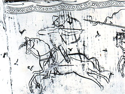Italian fresco depicting a Hungarian warrior shooting backwards Hungarian warrior.jpg