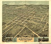 Bird's Eye View of 1871 Huntsville, Alabama.
