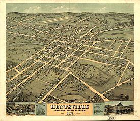 Bird's Eye View of 1871 Huntsville, Alabama.