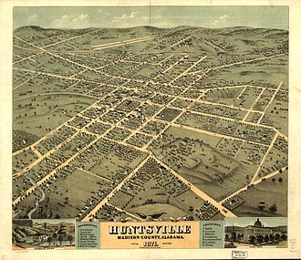Huntsville, Alabama - Bird's eye view of 1871 Huntsville, Alabama