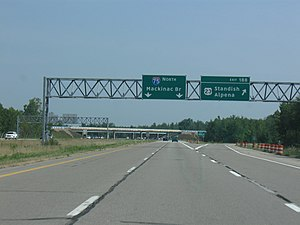 Interstate 75 in Michigan - Image: I 75 MI exit 188