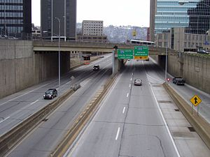 Interstate 579 - I-579 running through downtown Pittsburgh