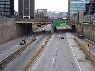 Interstate 579 - I-579 running through downtown Pittsburgh