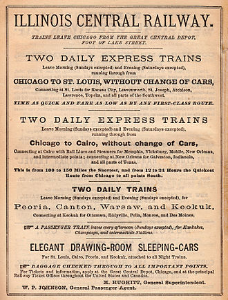 Illinois Central Railroad - Illinois Central ad (1870)