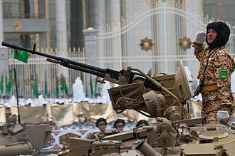 Armed Forces of Turkmenistan - T-72UMG tankman salutes during parade