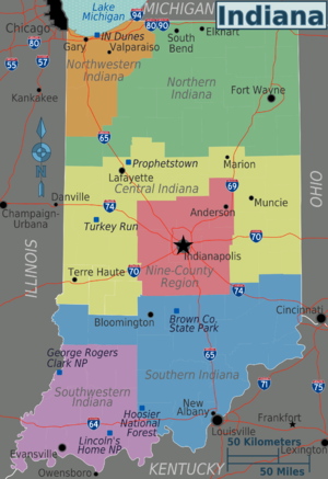 Indiana Travel Guide At Wikivoyage - Indiana state map with cities
