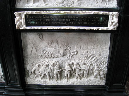 Marble relief at the Hofkirche, Innsbruck by Alexander Colyn, 1553, after Albrecht Durer showing the meeting of Maximilian and Henry at Therouanne Innsbruck 1 312.jpg