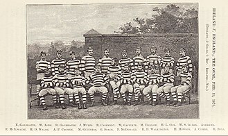 Ireland national rugby union team - First Ireland rugby team: played England on 19 February 1875 and lost by 2 goals and a try to nil