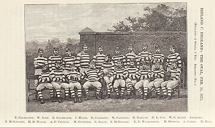 First Ireland rugby team: defeated by England on 15 February 1875 at The Oval, by two goals and a try to nil Ireland-First-Team-1875.jpg