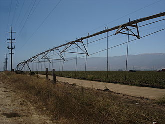 Salinas Valley - An agricultural irrigation system near Chualar in the Salinas Valley.