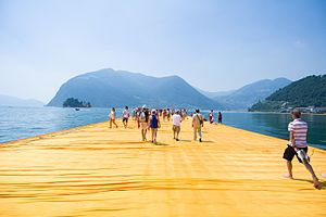 2016 in art - The Floating Piers by Christo and Jeanne-Claude on Lake Iseo near Brescia, Italy