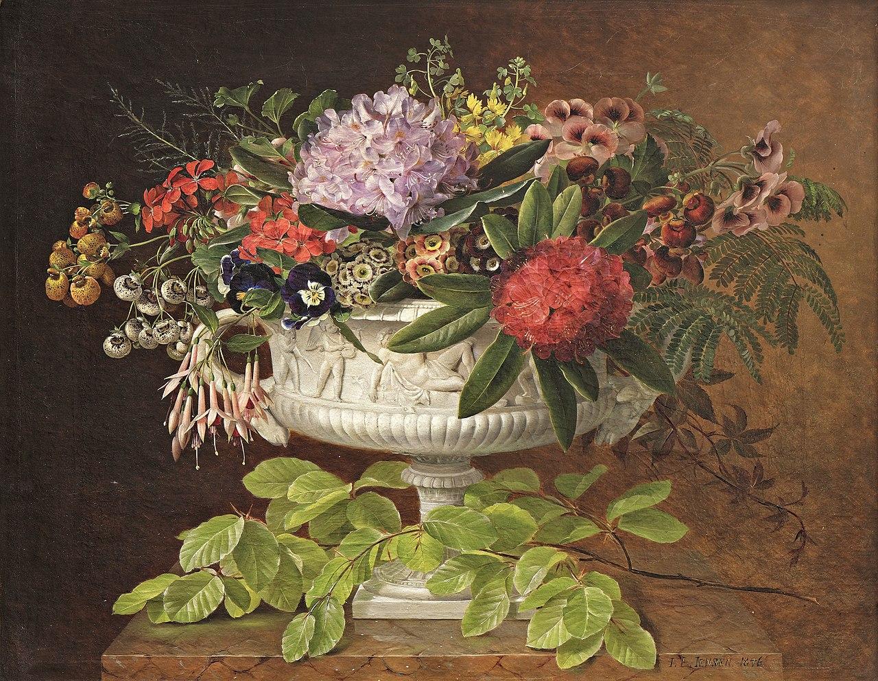 J.L. Jensen, Blomster i en opsats på marmorkarm med bøgegren, 1846, 0224NMK, Nivaagaards Malerisamling.jpg