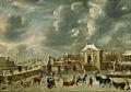 Jan Abrahamsz. Beerstraaten - Stadsgracht met Heiligewegspoort in de winter (ca. 1663).jpg