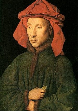 Giovanni Arnolfini - The, probably later, Berlin portrait of Giovanni Arnolfini, wearing a chaperon, by Jan van Eyck.