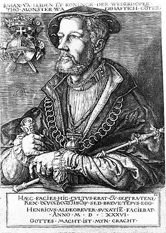 John of Leiden - Portrait of Jan van Leiden as King of Münster by Heinrich Aldegrever, shortly before his execution, 1536