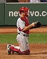Jeff Mathis kneeling with catcher's gear in April 2008.jpg