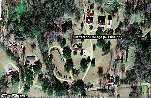 Jefferson College (Mississippi) - Location of historic buildings at Jefferson College: 1=President's House, 2=Prospere Hall, 3=Carpenter Hall, 4=Steward's Building, 5=East Kitchen, 6=West Wing, 7=East Wing, 8=Raymond Hall