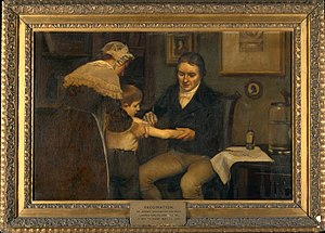 Smallpox vaccine - Dr Edward Jenner performing his first vaccination on James Phipps, a boy of age 8. May 14th, 1796. Painting by Ernest Board (early 20th century).