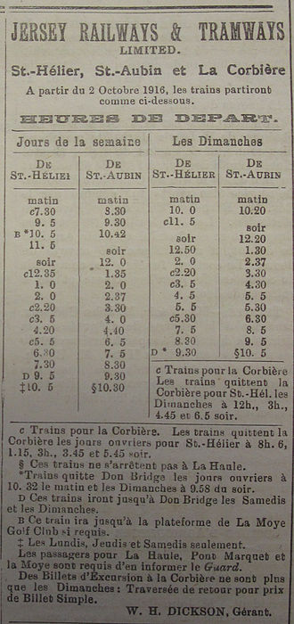 Jersey Railway - 1916 timetable of services
