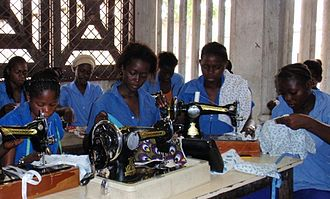 Republic of the Congo - Young women learning to sew, Brazzaville