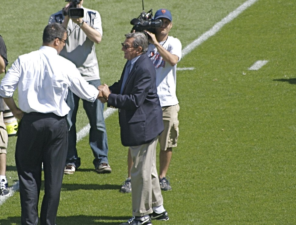 Joe Paterno wishes good luck to opponent