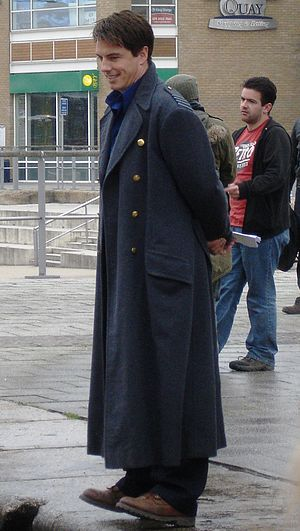 Jack Harkness - John Barrowman in Captain Jack's distinctive World War Two greatcoat during Torchwood filming.