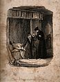John Dee (?) examining a urine sample and taking the pulse o Wellcome V0016076.jpg