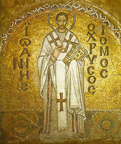 A Byzantine mosaic of John Chrysostom from the Hagia Sophia. - John Chrysostom
