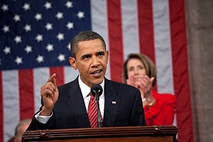 Barack Obama speech to joint session of Congress, September 2009 - President Obama delivering his speech on health care to the United States Congress