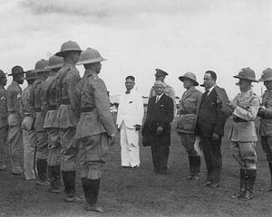 José María Moncada - U.S. Marine review by President José María Moncada Tapia and Gen. Anastasio Somoza Garcia, Managua, 1930.